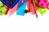 Border of colorful school supplies with math theme on a white background poster