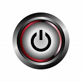Power off icon button. Power icon glossy gray vector poster