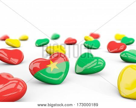 Heart With Flag Of Burkina Faso Isolated On White