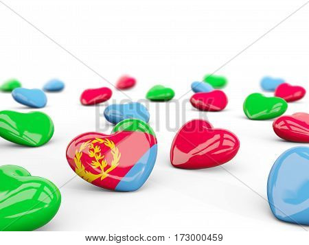 Heart With Flag Of Eritrea Isolated On White