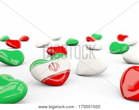 Heart With Flag Of Iran Isolated On White