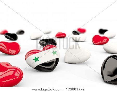 Heart With Flag Of Syria Isolated On White