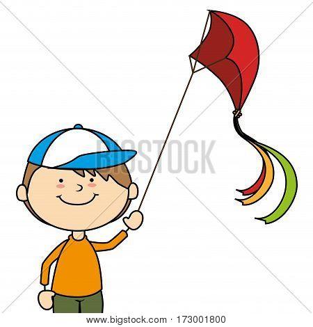 kid flying kite icon vector illustration design