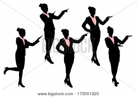 silhouette of business woman show something with white background