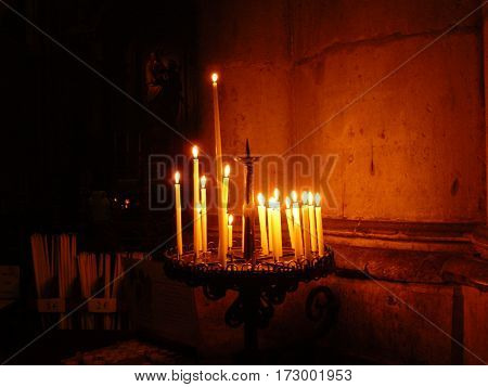 candels Cathedral gothic statues architecture middle age smile angels religion religion