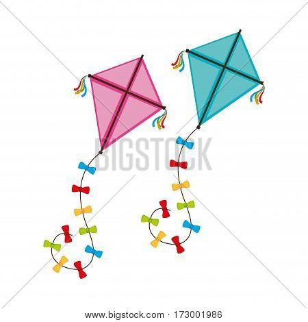 cute kite flying icon vector illustration design