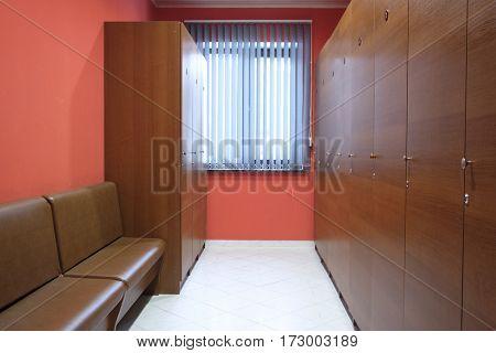 Interior of a cloak room