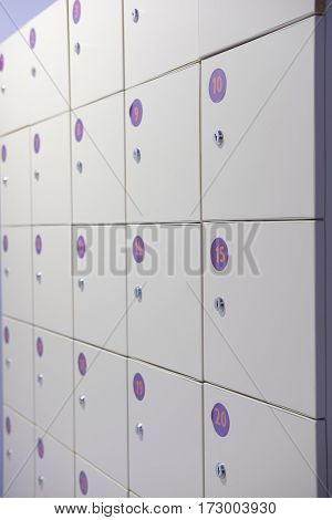 Boxes of locker close up
