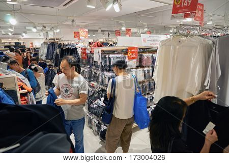 HONG KONG - CIRCA NOVEMBER, 2016: Uniqlo store in Hong Kong. Shopping is a widely popular social activity in Hong Kong.