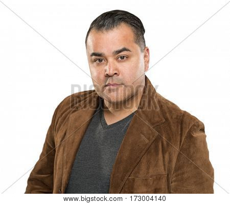 Handsome Young Hispanic Male Headshot Portrait Against White Background.