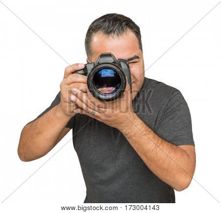 Handsome Hispanic Young Male With DSLR Camera Isolated on a White Background.