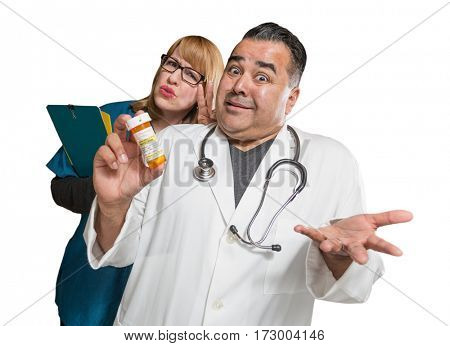 Goofy Doctor and Nurse with Prescription Bottle Isolated on a White Background.