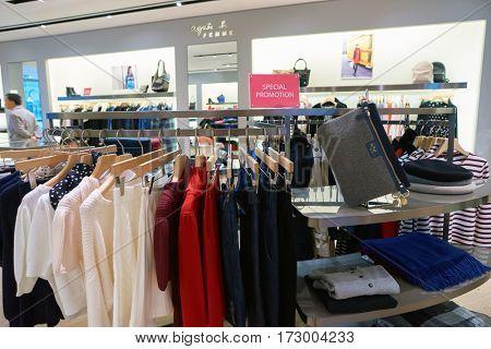 HONG KONG - CIRCA NOVEMBER, 2016: agnes b in Hong Kong. Shopping is a widely popular social activity in Hong Kong.
