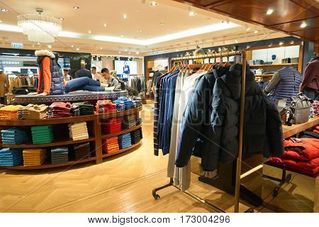 HONG KONG - CIRCA NOVEMBER, 2016: inside a Tommy Hilfiger store in Hong Kong. Shopping is a widely popular social activity in Hong Kong.
