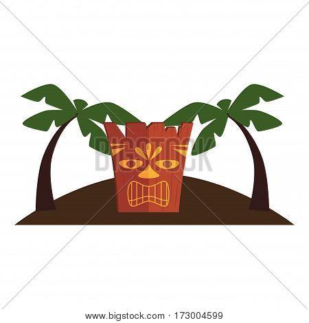 hawaii totem culture icon vector illustration design