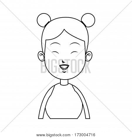 happy east asian woman icon image vector illustration design