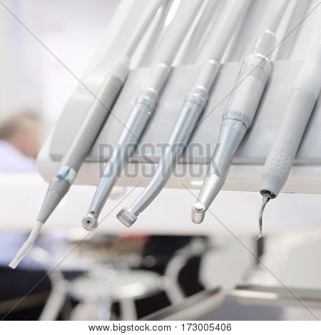 The image of a dental drilling machine close up