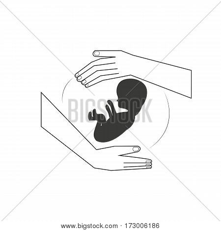 Symbol Maternity A hand hold a child in the belly area.