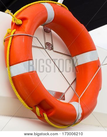 Yachting, Orange Lifebuoy On Sailboat, Safety Travel