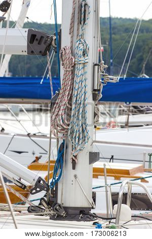 Yachting, Parts Of Sailboat In Port Of Sailing