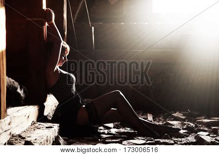 Girl, Who Tied To A Wooden Pole