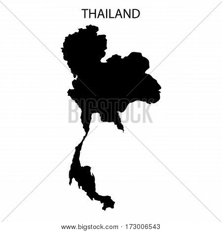 Thailand map in black design on white background.
