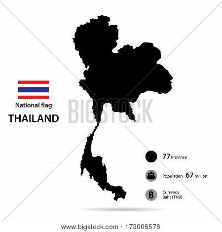 Thailand on the world map isolated on white background.