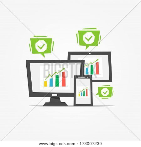 Chart diagram on different electronic devices vector illustration. Creative concept.