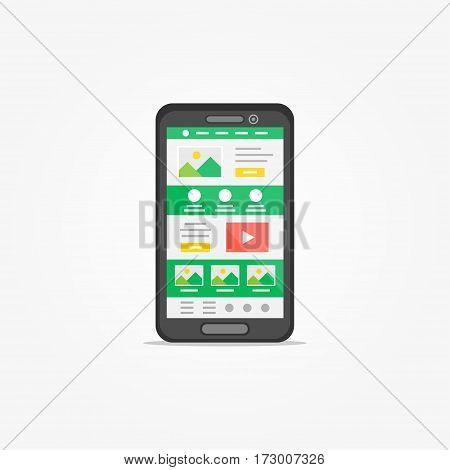 Landing page on mobile phone vector illustration. Mobile phone web design creative concept.