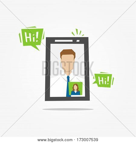 Video call mobile phone vector illustration. Video call mobile app creative concept.