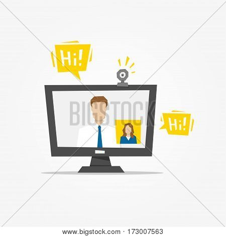 Video call desktop vector illustration. Video call app technology creative concept. Communication app graphic design.