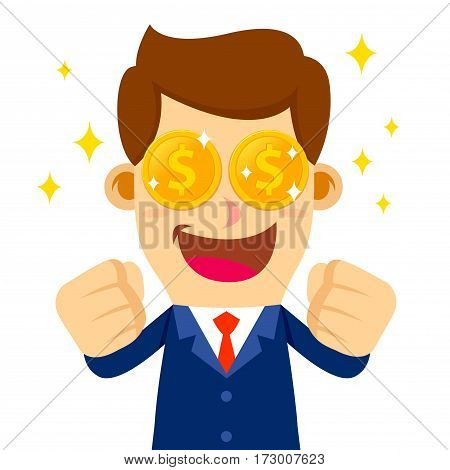 Vector stock of a businessman feeling excited to see money his eyes turns into golden coins