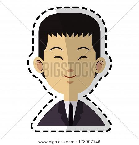 young handsome east asian man icon image vector illustration design