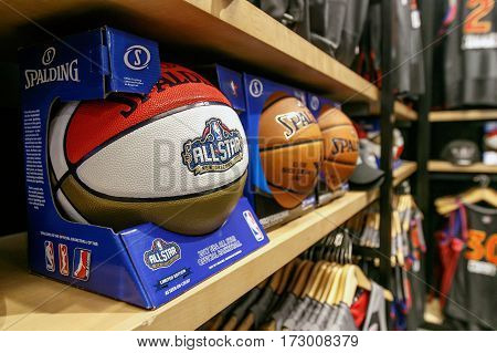 New York February 21 2017: 2017 All Star Game limited edition basketball for sale on a shelf in the NBA store in Manhattan.
