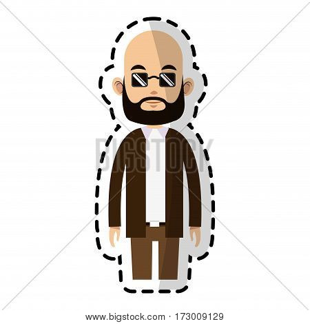bald caucasian man with sunglasses man icon image vector illustration design