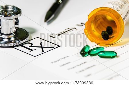 Medicine doctor's working table, Prescription Medicines, Medication Prescription Bottle and Spilled Pills