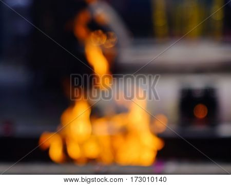 Blur Fire Flame With Temple Background