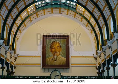 Portrait Of President Ho Chi Minh In Vietnam