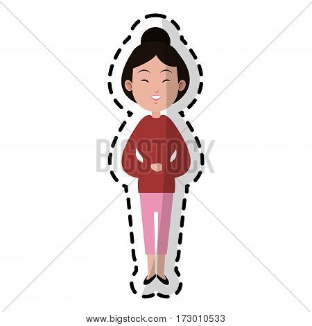 east asian woman icon image vector illustration design