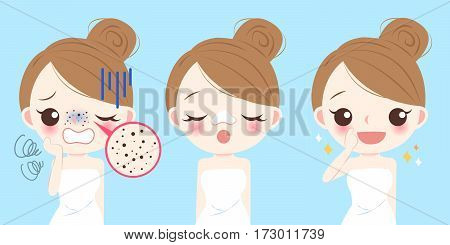 cartoon beauty woman with acne problem on nose before and after