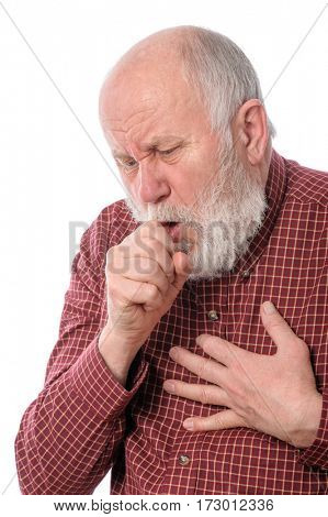 Handsome bald and bearded senior man coughing, isolated on white background