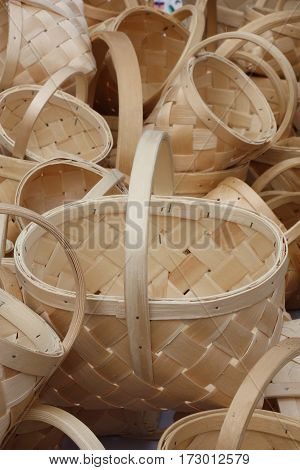 A considerable quantity of baskets of the different size are made on one technology and are combined in the big heap.
