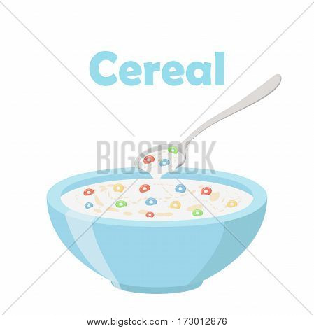 Cereal rings, spoon and bowl. Oatmeal breakfast with milk, organic muesli. Flat vector style.