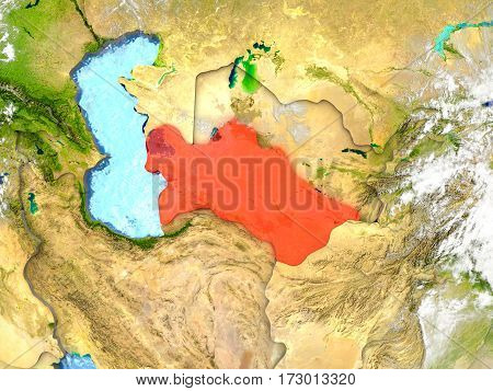 Turkmenistan On Map With Clouds