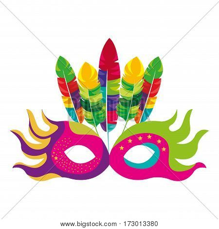 mask feather carnival festival circus fair celebration vector illustration