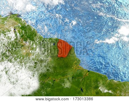 French Guiana On Map With Clouds