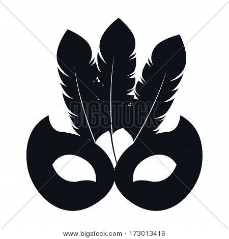 black silhouette mask carnival celebration icon design vector illustration