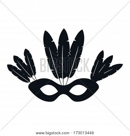 black silhouette mask with feathers brazil culture vector illustration