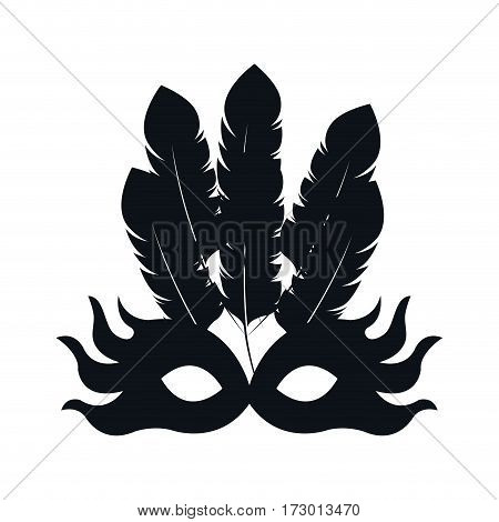 black silhouette carnival of teather mask with feathers vector illustration