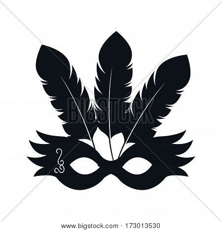 black silhouette festival party mask with feathers vector illustration